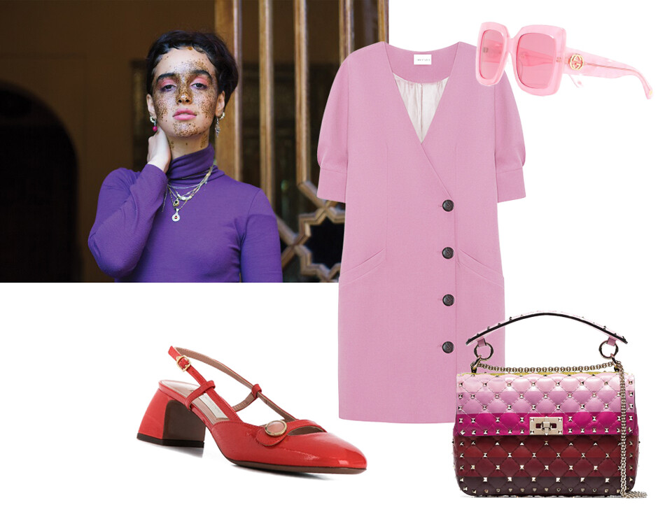 5704e8f784e2 Туфли L'Autre Chose; платье I Am Studio; очки Gucci; сумка Valentino