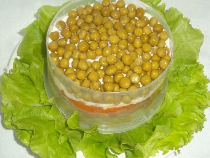 Салат из зеленого горошка консервированного с