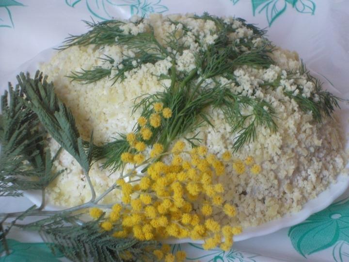 Пошаговое приготовление салата мимоза с