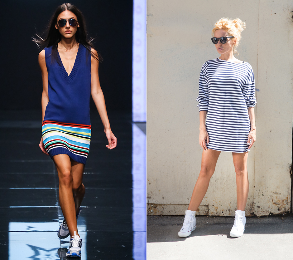 Как правильно носить платья с кроссовками