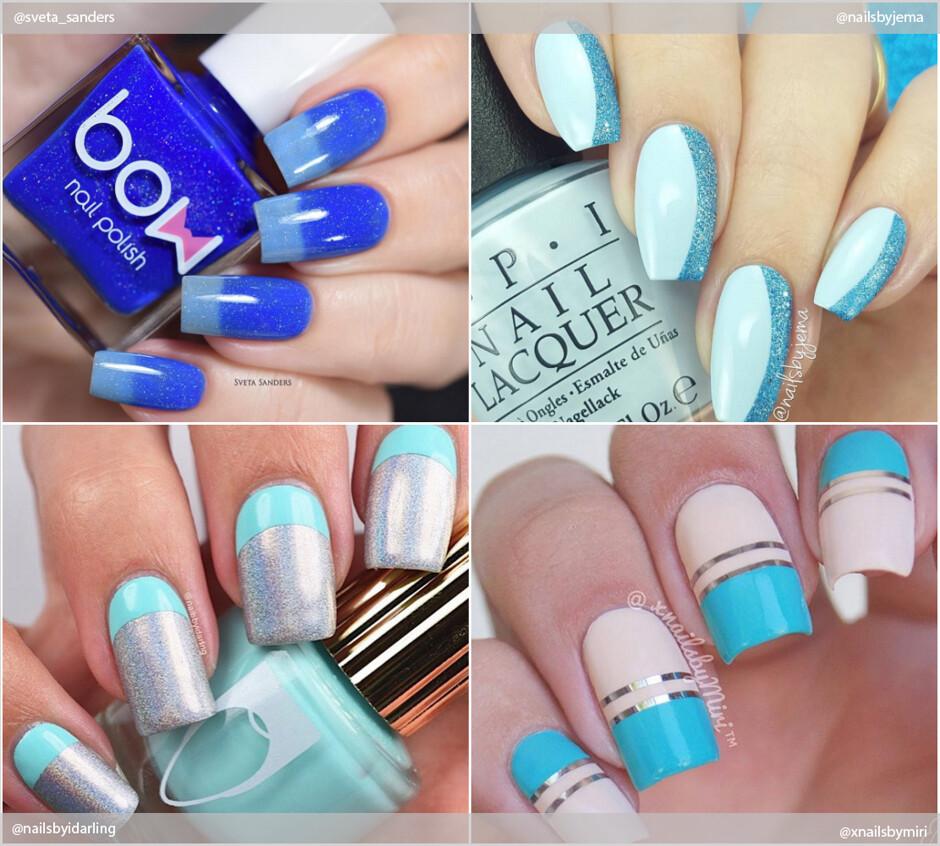 Маникюр голубого цвета летний