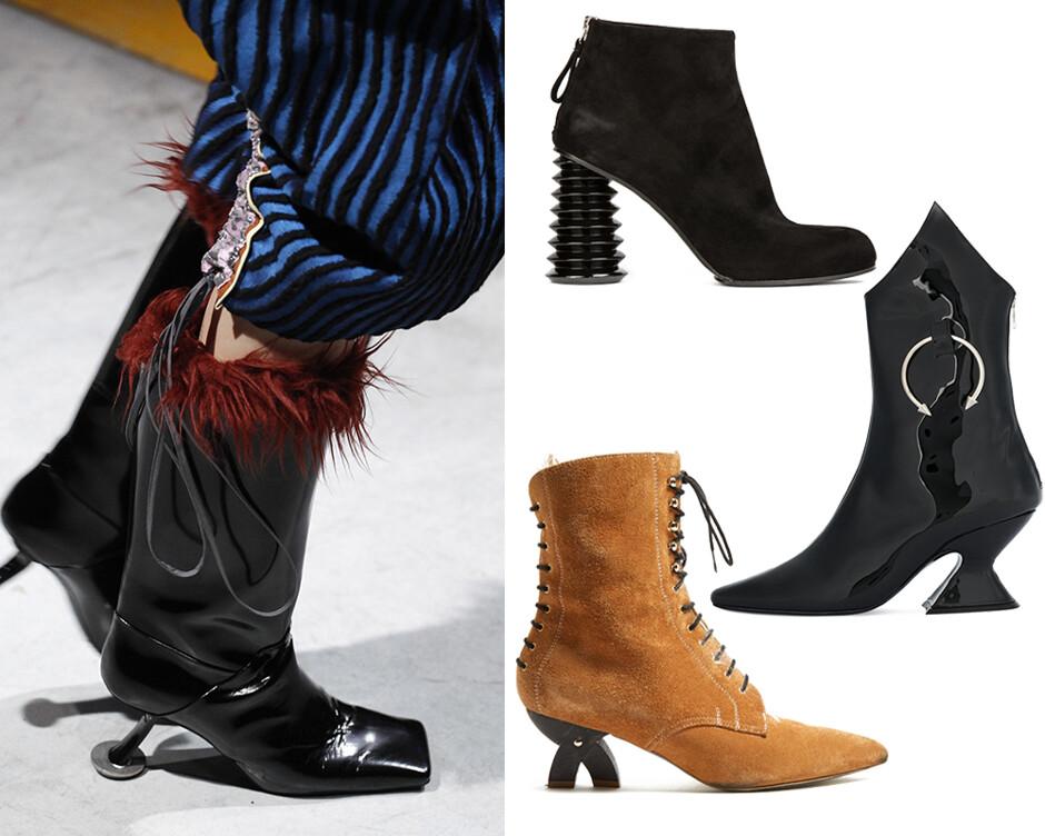21 пара теплой обуви на фантазийных каблуках