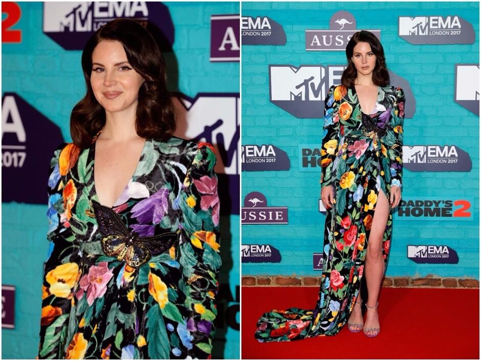 Еще одной звездой вечера стала 32-летняя Лана Дель Рей. Певица выбрала для  церемонии более традиционный образ  яркое «цветочное» платье от Gucci. 5009d74f7b6